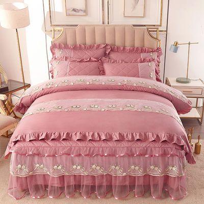 精品纯棉四件套双人被套全棉床罩加厚夹棉床裙蕾丝公主风床上用品