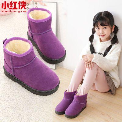 小红侠雪地靴儿童靴子女孩加厚棉靴防滑男童短靴冬季学生软底棉