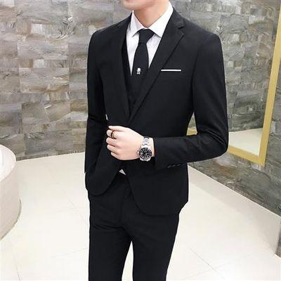 青年西服套装男大码修身商务西装学生休闲马甲三件套结婚正装外套