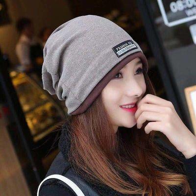 帽子女秋冬韩版多功能针织头巾包头套头帽围脖扎马尾帽保暖月子帽
