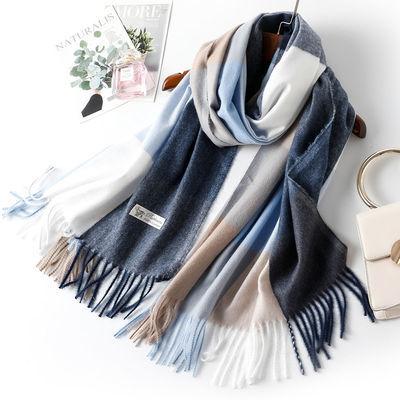 MOHOMO2019冬裝新款女款時尚氣質柔軟舒適撞色格子流蘇圍巾
