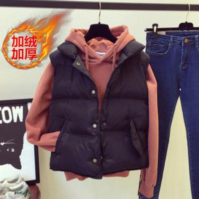 单件套装马甲卫衣两件套女短款韩版棉服2020秋冬新款无袖背心外套
