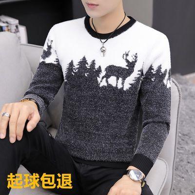 不起球男士青少年中高档加厚潮圆领韩版修身冬季加厚毛衣针织衫潮