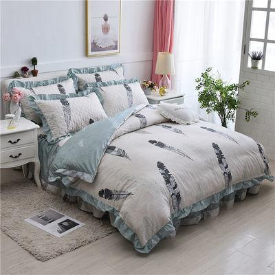 韩版夹棉床裙四件套公主风冬季床罩式纯棉加厚床上用品1.8m米床