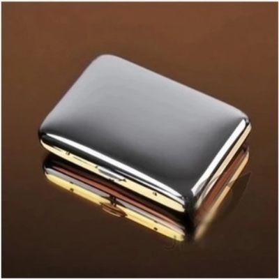 双枪烟盒16只支装金色双面纯铜自动弹盖烟夹五叶草320金麻叶