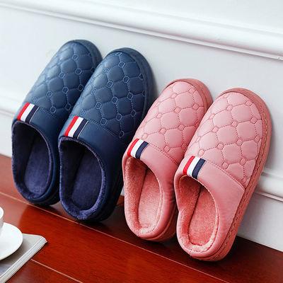 防水棉拖鞋男女包跟秋冬季室内外情侣居家防滑厚底保暖月子鞋冬天