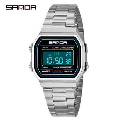 尊贵商务男士手表男女学生电子表复古金色防水钢带方形腕表小金表