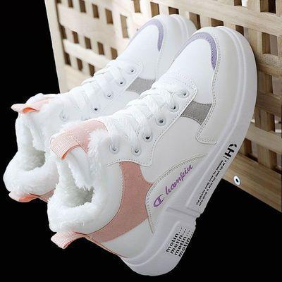 高帮小白鞋加绒加厚棉鞋新款女学生运动鞋百搭韩版雪地靴保暖女鞋