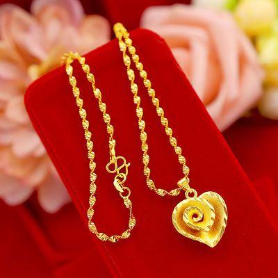 送戒指越南沙金项链女士爱心时尚吊坠学生韩版黄金锁骨链镀真金子