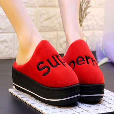 秋冬季棉拖鞋女士时尚字母坡跟厚底高跟保暖棉鞋居家加厚月子鞋