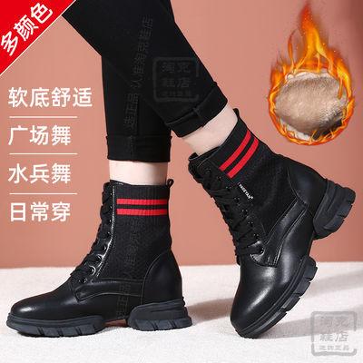 秋冬保暖水兵舞鞋女跳舞鞋软底广场舞鞋防滑水兵舞靴子中筒舞蹈鞋