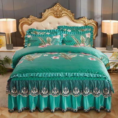 欧式水晶绒床裙四件套秋冬保暖夹棉加厚单双人防滑床罩被套4件套