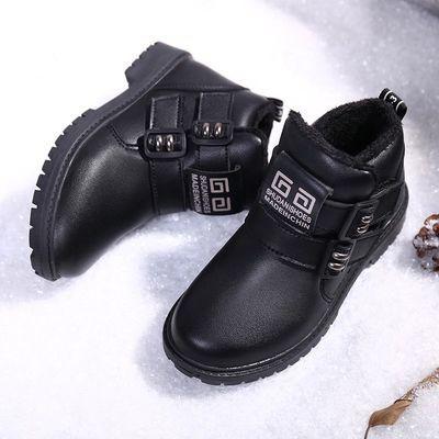 男童加绒皮鞋冬季新款2019保暖马丁靴儿童短靴二棉鞋大棉皮靴子