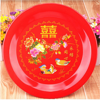 结婚用品喜庆水果盘婚宴道具茶盘 圆形金属铁质托盘 红色糖果盘【2月29日发完】