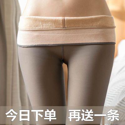 秋冬天女加肥加大版PU皮裤带绒打底连裤袜子加厚款加绒棉裤超大码