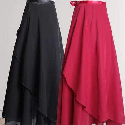 71092/古典舞练功服女成人芭蕾舞裙半身裙一片式系带舞蹈纱裙长款雪纺裙