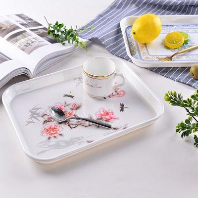 长方形密胺托盘欧式家用水杯茶盘托盘餐具盘水果盘蛋糕盘餐盘加厚【3月1日发完】