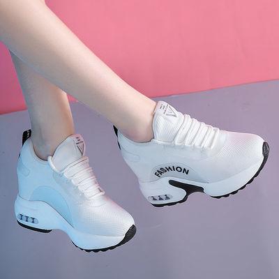 内增高小白鞋8cm显瘦2020春夏款网面镂空运动休闲百搭旅游气垫鞋
