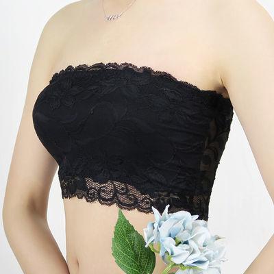 裹胸式女抹胸打底防走光无肩带内衣蕾丝上衣大码胖mm短款文胸围胸