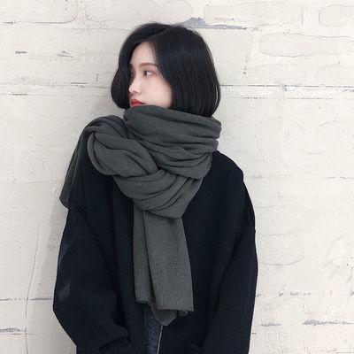 韩版纯色针织毛线围巾女秋冬季加厚保暖学生软妹围脖男百搭披肩潮