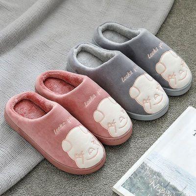 日式秋冬季卧室内男保暖家居家用情侣包跟月子棉拖鞋女士防滑厚底