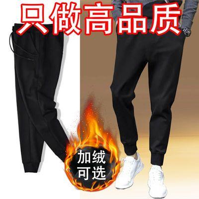 冬季保暖加绒加厚休闲运动裤子男学生韩版潮流小束脚宽松黑色长裤