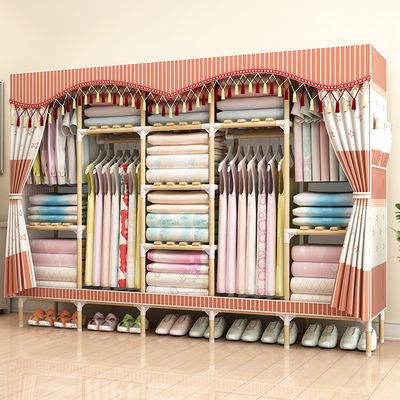 人布衣柜现代组装折叠简易衣柜经济型加粗钢管收纳挂衣橱挂衣架