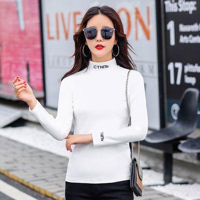 不加/加绒】黑白色长袖T恤女中领半高领打底衫女2020春秋新款百搭
