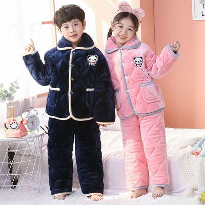 冬季儿童三层夹棉睡衣加厚法兰绒家居服套装宝宝男女孩保暖珊瑚绒