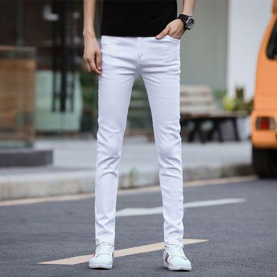 春夏款弹力白色牛仔裤男士韩版修身小脚裤直筒休闲长裤子四季款