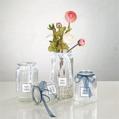 花瓶玻璃花瓶摆件装饰绿萝富贵竹水培插干花瓶透明彩色大小号客厅