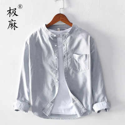 极麻日系立领休闲牛津纺长袖衬衫男士夏季透气宽松纯棉衬衣外套潮