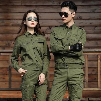 夏季纯棉工作服男女套装长袖短袖劳保服迷彩服套装薄款军绿色
