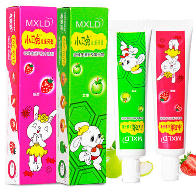 小贝兔儿童牙膏牙刷套装草莓苹果水果味宝宝小孩换牙期防蛀3-12岁