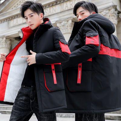 冬季外套男新款韩版青少年中长款风衣加绒夹克加厚棉衣男装大码潮