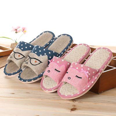 秋冬季棉拖鞋女居家室内韩版情侣防滑包跟厚底可爱毛绒保暖拖鞋男