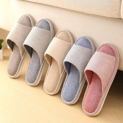 秋冬季居家情侣棉拖鞋女软底孕妇产后月子鞋防滑透气薄款室内棉拖