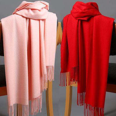 围巾女冬款保暖仿羊绒披肩韩版加厚大红色年会围巾学生时尚潮围脖