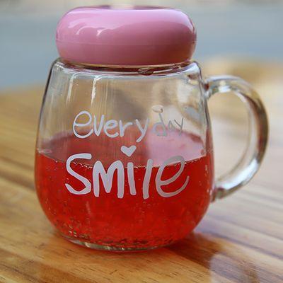 水杯玻璃杯子男女学生创意简约水杯家用办公室带盖带把泡茶花茶杯【2月29日发完】