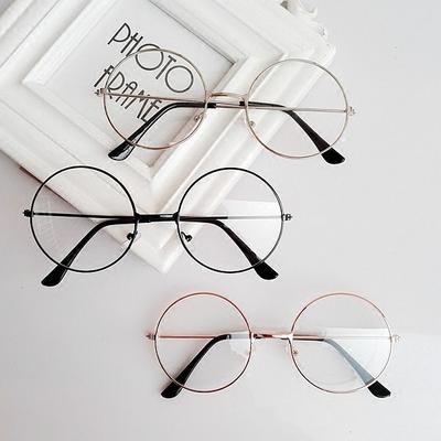 韩版复古圆形眼镜框女防辐射眼镜架平光镜潮配近视眼镜成品男女款