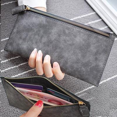 2019时尚欧美复古薄款女士软皮磨砂钱包女学生长款卡包拉链手拿包