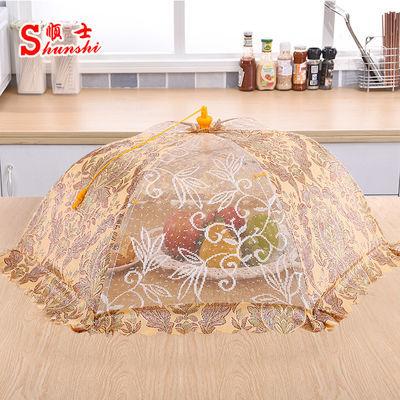 可折叠遮盖菜罩厨房碗罩全布饭桌罩圆形餐桌罩食物罩大号家用菜伞
