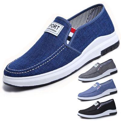 宽松的中年老头老北京布鞋男休闲中老年人鞋子防滑耐磨老人秋鞋