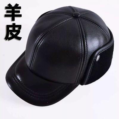 冬天中老年真皮帽子男士鸭舌帽男护耳帽老头帽加厚保暖棉帽老人帽