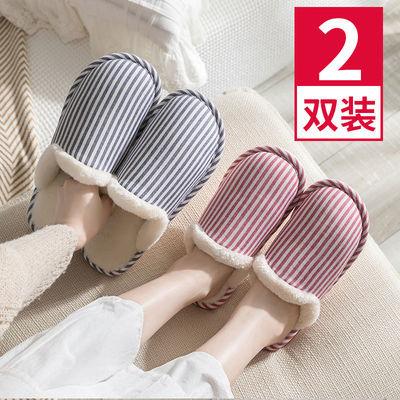 日式居家棉拖鞋女冬季厚底情侣棉拖保暖防滑月子鞋秋冬男地板拖鞋