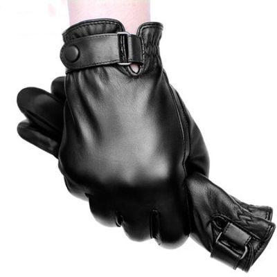 稻草人皮手套男士冬季骑行摩托车开车加厚加绒保暖防水防风触屏棉
