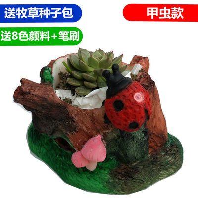 涂色摔不坏石膏娃娃动物搪胶陶瓷白胚画模具彩绘花盆种植上色玩具