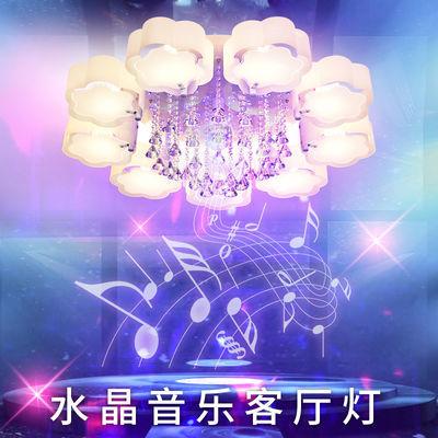 水晶客厅灯蓝牙音乐吸顶灯现代简约圆形卧室灯大气家用大厅灯具