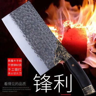 龙泉菜刀厨房厨师刀具手工锻打不锈钢古法淬火家用切菜切肉切片刀