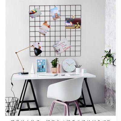铁艺心形网格照墙自带置物架少女心装饰粉色女生宿舍一面墙